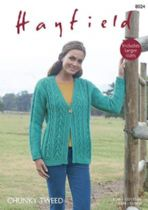 Hayfield Chunky Tweed Knitting Pattern - 8024 Cardigan